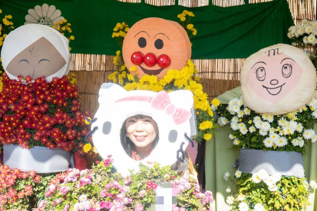 菊人形の顔ハメパネル